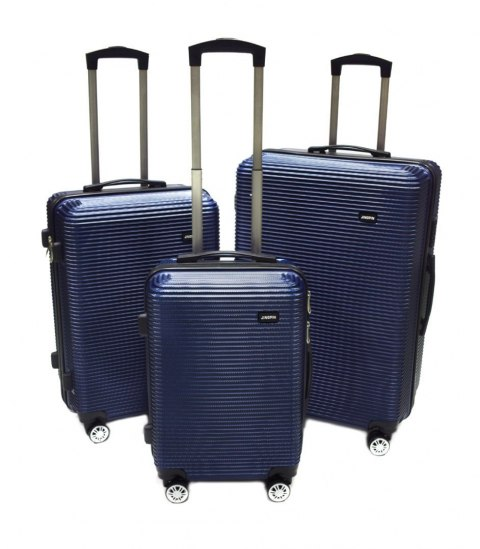 e18ff41c03d66 Niebieskie walizki podróżne samolotowe zestaw 3 walizki M,L,XL